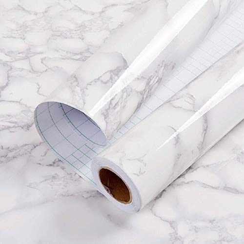 Hode Klebefolie Möbel Selbstklebend Marmor Weiß 30cmX2m Wasserdicht Tapete Möbelfolie Dekofolie Möbelsticker Vinylfolie Aufkleber Abnehmbare Schälen und kleben Wand Schlafzimmer Schränke Zähler