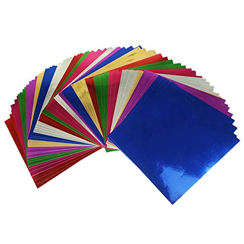 WOWOSS 112 Sheets Foil Cardstock, Metallic Mirror Board Sheets for Arts and Crafts, 7 Colors 6x6 Inch Foil Origami Folding Paper for Scrapbook Paper, DIY Card, Invitation Supplies