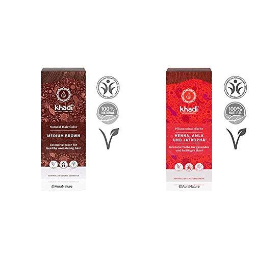 Khadi Naturprodukte Khadi Pflanzenhaarfarbe Mittelbraun 100g Medium Brown & Pflanzenhaarfarbe Rot Henna, Alma & Jatropha 100g