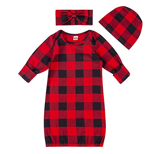 Newborn Baby Boy Girl Buffalo Plaid Gown Christmas Knotted Nightgown Sleepwear (Red Plaid, 0-6 Months)