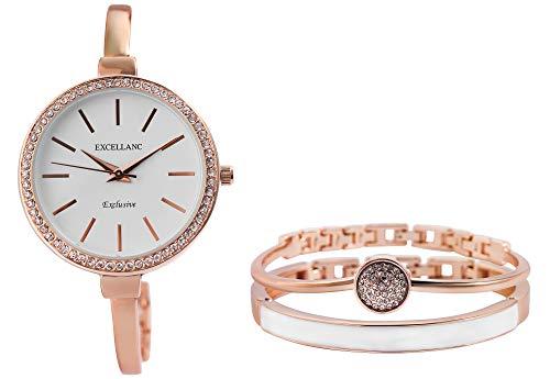 Excellanc Damen-Geschenkset Armbanduhr Armreifen Strass-Stein Metall 1800200 (roségoldfarbig/weiß)