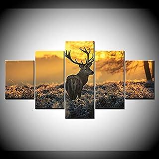 WLYUE-Imagen 100x55 cm/39.4x21.7HD Wall Art Impreso Lienzo Decoración para el hogar Sala de Estar 5 Piezas Sunshine For...