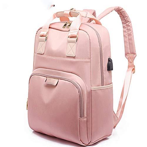 A-hyt Cómoda y cómoda mochila de 2 hombros con carga USB rosa, mochila de ordenador para mujer de 35,56 cm, mochila escolar para adolescente, fácil caminata (color rosa, tamaño: 15 pulgadas)