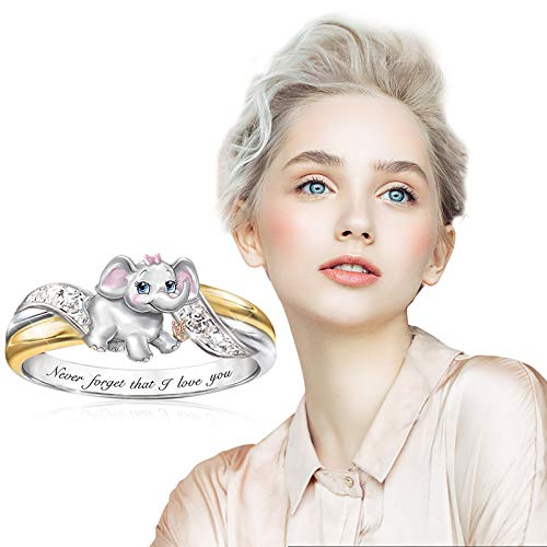 SDCAJA Sterling Silver Rings for Women Elephant Ring Animal Women Wedding Party Jewelry Gifts for Valentines Day/Party/Birthday Jewelry