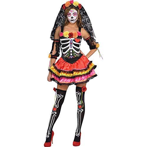 amscan- Day of The Dead Costume-Size 8-10-1 PC Disfraz de seorita Sexy para el da de los Muertos, Talla 8  10  1 Unidad, Multicolor, Mujeres: 8-10 (844569)