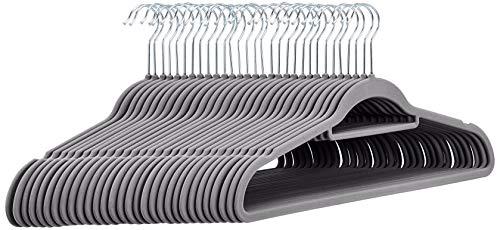 Amazon Basics– Anzug-Kleiderbügel, beflockt, mit Krawattenbügel, Dunkelgrau, 30Stück