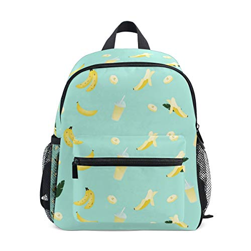 Kinder-Rucksack mit niedlichem Bananensaft-Muster, hochwertiger lässiger Tagesrucksack, Leichter Canvas-Rucksack für 3–8 Jahre, Kleinkinder, Kinder, 25,4 x 10,2 x 30,5 cm
