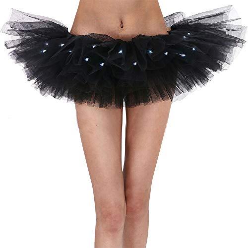 Aimerfeel Mujeres íntimas 8 Falda tutú Negro en Capas de luz LED, 36-42.