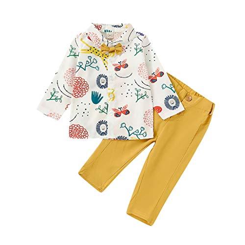 Baby Kleidung Jungen Kinder Zweiteiliger Schlafanzug Kleinkind Baby Boy Girl Gentleman Fliege Cartoon Print Lange-Shirt Tops + Hosen Outfits