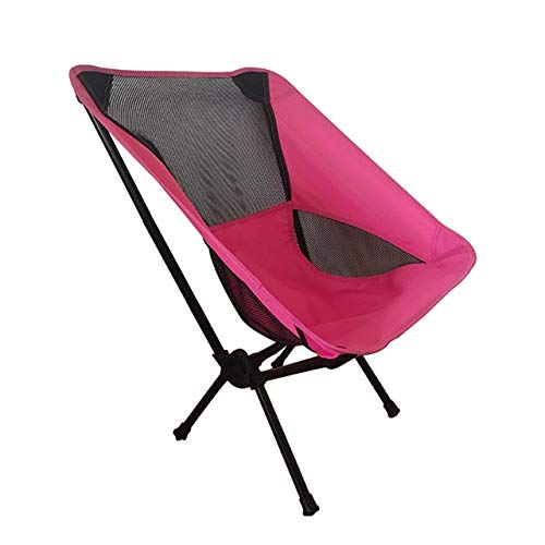 Al Aire Libre Super Hard Travel Súper Ligero Asiento de Picnic de Alta Carga Plegable Camping Moon Chair Silla de Viaje para Pesca en la Playa con Bolsillo Lateral - e2, Rosa roja