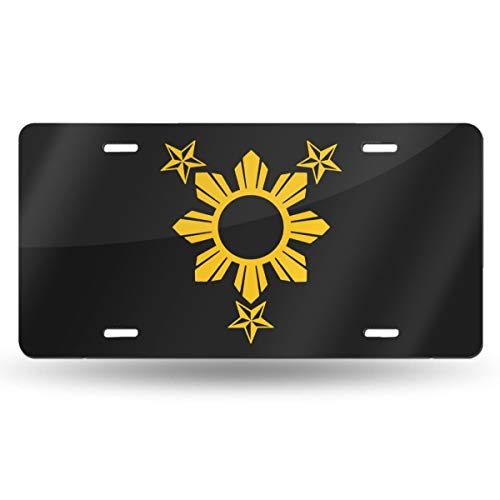 NCJEI NONGE 3 Stars and Sun Filipino Philippines Flag Aluminum Metal Front Auto Car Tag Sign for Car Decoration 6 Inch X 12 Inch