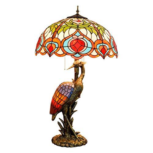ZGQA-GQA Mujer del estilo de Tiffany lámpara de escritorio de la grúa, persiana 50CM melocotón lámpara de cristal, luz de la noche Adecuado for su estilo de Tiffany cubierta Habitación Decorar lámpara