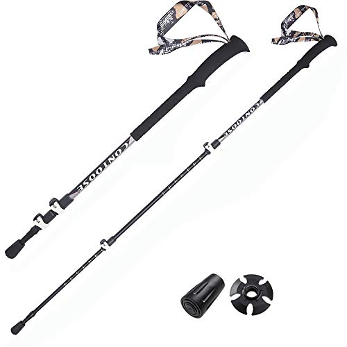 ROCK-FEATHER Bâtons de marche télescopiques Trekking Béquilles de ski réglables en alliage d'aluminium haute résistance, résistant à l'usure et à la corrosion Pour femmes, Hommes, Traverser la rivière