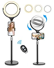 """【Dimmable 8"""" Selfie Ring Light】-- BW-SL4 is desk selfielightstand, with 3 lighting modes(cold, natural and warm light) and 10 brightness levels, meets all your needs in different circumstances and getting you an outstanding look when doing makeup, ..."""
