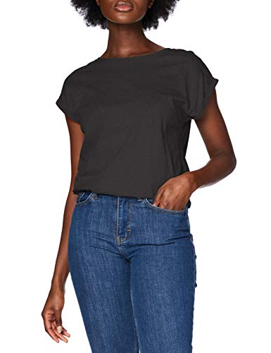 Urban Classics Ladies Extended Shoulder tee Camiseta, Negro, XL para Mujer