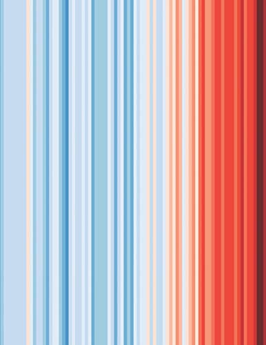 Global Warming Stripes Notebook: Climate Change Climate Strike Notepad Journal. 8.5 x 11 Inch Lined College Ruled Note Book With Soft Matte Cover For Scientists, Environmentalists.