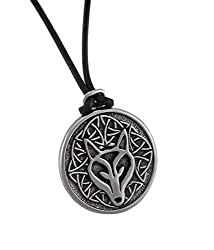 Pewter Celtic Wisdom Wolf Necklace Pendant, PND1017