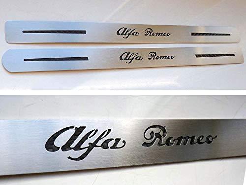 Umbrales De Acero (Delantero) para Alfa_Romeo 159-2 Piezas Molduras Protección Inox Metal Cepillado Interior Personalizados Hechos a Medida Tuning