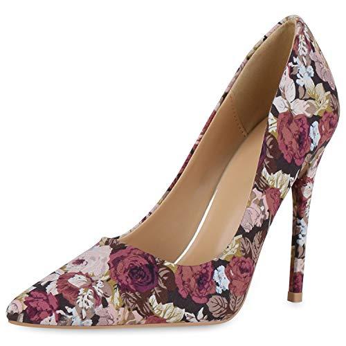 SCARPE VITA Damen Spitze Pumps Stiletto High Heels Party Schuhe Blumen Print Absatzschuhe Modische Abendschuhe 190451 Dunkelbraun Altrosa 39