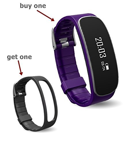 Chinatmax Smart Bluetooth Bracelet Sport Pedometer Fitness Tracker Watch Hear Rate Monitoring with Step Counter Sleep Tracker Call Notification for iPhone Samsung iOS Android (Purple with Black Band)