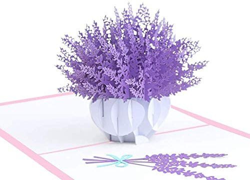 UNISONG 3D Lavender Bloom Pop Up Card, Thank You Card,Birthday Card,3D Holiday Cards