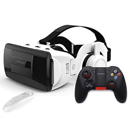 YANJINGYJ Gafas VR 3D Realidad Virtual, Dispositivo panorámico con botón de Cabeza Ajustable y Gafas virtuales 4d Todo en uno,White,D