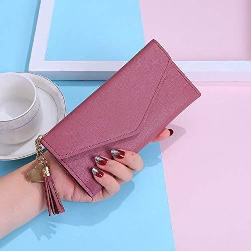 Heliansheng Long women wallet tassel coin purse card holder envelope wallet lady pu leather purse -darkpink-D239