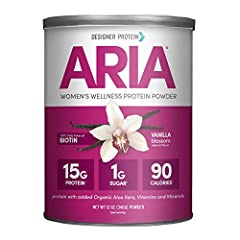 Contains 1 - 12 Ounce canister of Designer Protein Aria protein powder for women, vanilla flavor. Packaging May Vary 15g of natural protein per serving complete with all the essential amino acids Non GMO, heart healthy soy protein isolate GMO-Free wh...