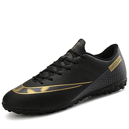 VTASQ Scarpe da Calcio per Bambini Outdoor Training Lightweight Wear Resistant Teenager Sports Soccer Shoes Summer Spring Ragazzo Scarpe da Calcetto Nero 33EU