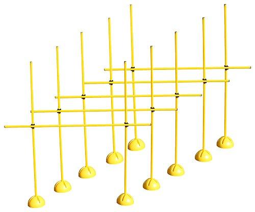 5er Sprungstangen-Set für effektives und vielseitiges Training - Sprungkraft, Dribbling und Beweglichkeit - Standfüße sind mit Sand befüllbar - (15 Stangen, 10 X-Standfüße, 10 Clips), Gelb, One Size – XS160yc