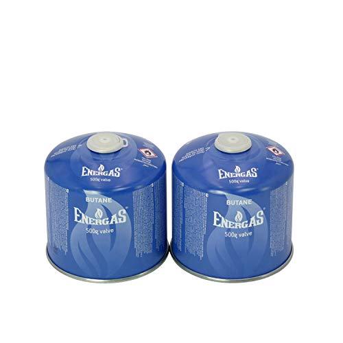 2 cartuchos de rosca butano de 500 g, cartuchos de válvula de camping, EN 417, cartuchos para tornillos de válvula, EN521, cartucho con rosca, cartucho de butano, gas butano