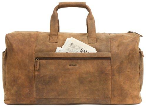 LEABAGS sehr große Reisetasche/Sporttasche/Weekender aus echtem Büffelleder 64x34x25cm - Vintage -'Sydney' Brown - XXL - SALE!