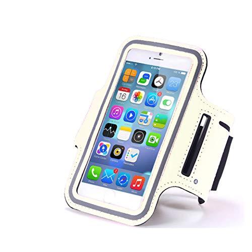 AXELENS Fascia da Braccio Universale Sportiva per Smartphone Fino a 6.7 Pollici - iPhone 6/7/8 Plus/11 PRO/PRO Max/iPhone X/XS/Galaxy S6/7/8/9/10 A5 Note 9 - Bianco