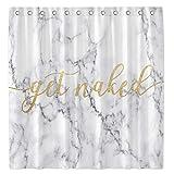 Allenjoy Get Naked Duschvorhang für Badezimmer-Sets, 183 x 183 cm, weißes Marmor-Muster, Heimdekoration, wasserdichter Stoff, maschinenwaschbar, mit 12 Haken
