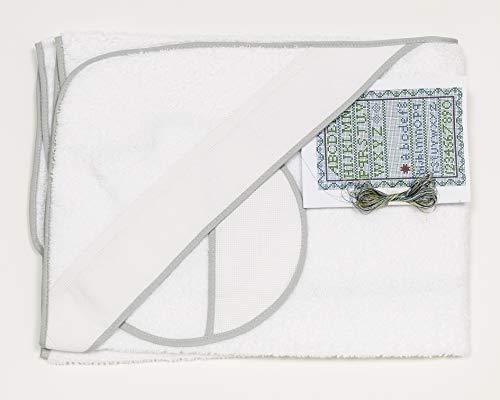 Ti TIN - Pack Capa de Baño de Bebé + Capucha + Babero de Punto de Cruz 100% Algodón con Tacto muy suave, Color Blanco, 100x100 cm