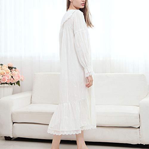 AUBERSIT Ropa de Dormir de Verano, camisón de algodón Blanco Vintage Tallas Grandes para Mujer Ropa de casa Vestido de Noche para Bodas Ropa de Dormir Lencería, Blanco, M