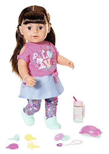 Zapf Creation 827185 BABY born Soft Touch Sister brünett Puppe mit lebensechten Funktionen und Zubehör, bewegliche Gelenke und weiche Soft-Touch-Oberfläche, 43 cm