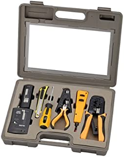 InstallerParts 10 Piece Network Installation Tool Kit - شامل تستر داده شبکه، RJ45 RJ11 Crimper، 66 110 Punch Down، Stripper، Utility Knife، 2 in 1 Screwdriver و Case Hard