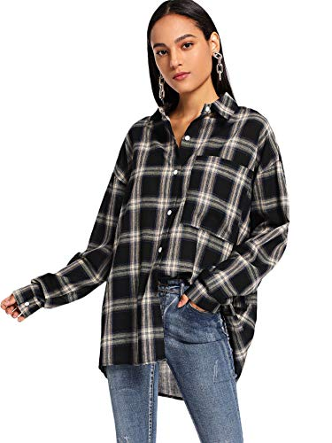SweatyRocks Women's Long Sleeve Collar Plaid Long Button Down Shirt Blouse Tops Black X-Large