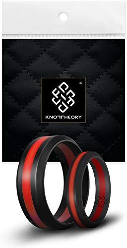 Knot Theory Silikon Hochzeitsring/Ehering für Männer und Frauen in Roter Streifen Größe 10 8mm Ringbreite - Ideal für Reisen, Arbeit, Übungen