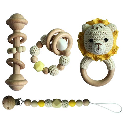 GLASSNOBLE Juego de 4 piezas para chupete, pulsera de dentición de ganchillo, león de ganchillo, cadena de chupete de sonajero