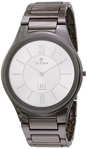 Titan Edge Reloj de pulsera de cerámica con esfera plateada marrón y correa de cerámica para hombre