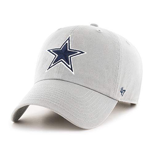 NFL Dallas Cowboys Mens 47 Brand Clean Up Hat, Gray, OSFA