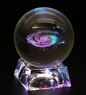 Bamboo's Grocery Galaxy Crystal Ball, Home Decoration, Full Sphere with LED Lamp Base, 80mm (80mm galaxy Led base)