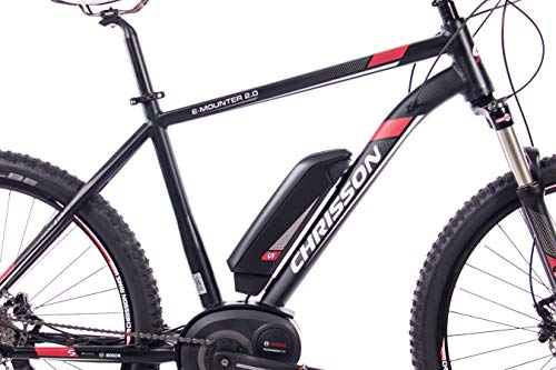 41ppJJGRnOL - CHRISSON 27,5 Zoll E-Bike Mountainbike Bosch - E-Mounter 2.0 schwarz 52cm - Elektrofahrrad, Pedelec für Damen und Herren mit Bosch Motor Performance Line 250W, 63Nm - Intuvia Computer und 4 Fahrmodi