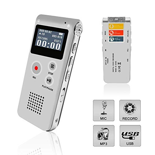 Voice Recorder, Digital Voice Recorder, MP3 Dictaphone with Playback, Rechargeable Tape Dictaphone Recorder for Lectures, Meetings, Interviews, Mini Audio Recorder, MP3 Player (Sliver)