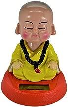 Solar Powered Cute Little Buddha Bobble Head Figure Car Dashboard Accessories Office Home Ultra Detail Doll (Yellow)