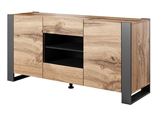 Kommode Wood, Lowboard, Unterschrank, Tv-Tisch mit 2 Türen, 1 Schublade, Fernsehenschrank, Wotan Eiche