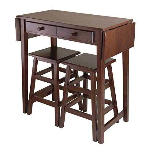 Best Bargain Double Drop Leaf Table with 2 Stools Brown Rustic Rectangle Wood Cappuccino Finish Brea...