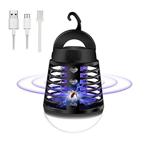 Sylanda Elektrische Fliegenfalle, Mückenlampe Campinglampe LED Laterne, Insektenvernichter Fliegenfalle Elektrisch, Wasserdichte Tragbare Insektenlampe Zeltlampe, USB Wiederaufladbar für Innen Außen